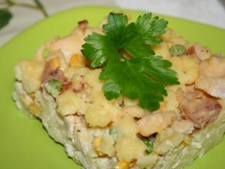 Zapekané zemiakové halušky s kuracím