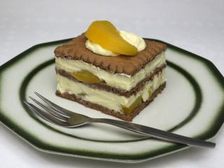 Nepečený tvarohovo-broskyňový dezert