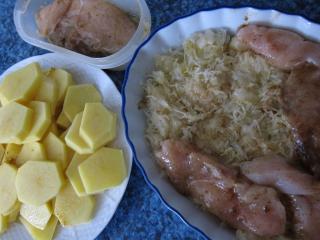 Príprava kuracích pŕs a zemiakov