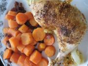 Pečené kuracie stehná s mrkvou a hrozienkami