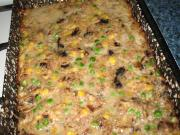 Šampiňónovo-mäsová sekaná s hráškom a kukuricou